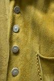Винтажная деталь пальто кожи лосиной кожи Стоковая Фотография