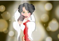 Винтажная женщина певицы на иллюстрациях предпосылки этапа Стоковое Изображение