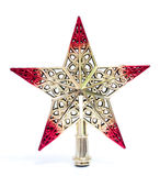 Винтажная звезда рождества изолированная на белой предпосылке Смогите быть помещено на рождественской елке Хороший для подарка Ро Стоковые Изображения