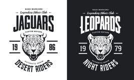 Винтажная злющая таможня леопарда едет на автомобиле логотип вектора футболки клуба черно-белый изолированный иллюстрация штока