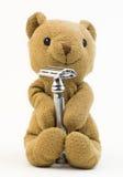 Винтажная игрушка медведя (старая игрушка медведя с брить бритву) Стоковые Изображения