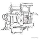 Винтажная иллюстрация вектора машины Letterpress Стоковая Фотография RF