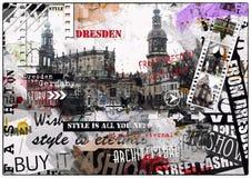 Винтажная иллюстрация взглядов Дрездена Стоковые Изображения RF