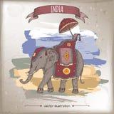 Винтажная иллюстрация перемещения цвета с украшенным индийским слоном Стоковые Фото