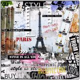 Винтажная иллюстрация с Эйфелева башней и женщиной моды Стоковые Фотографии RF