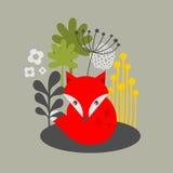 Винтажная лиса и печать цветков. Стоковые Фотографии RF
