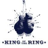 Винтажная иллюстрация вектора перчаток бокса Стоковые Изображения