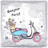 Винтажная иллюстрация открытки Парижа вектора Стоковое Фото