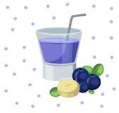 Винтажная иллюстрация предпосылки вектора коктеиля Smoothie ежевики Стоковое фото RF