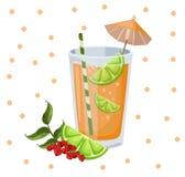 Винтажная иллюстрация предпосылки вектора коктеиля Smoothie ежевики Стоковая Фотография RF