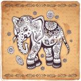 Винтажная иллюстрация слона Стоковое Фото