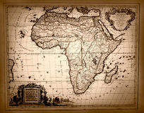 Винтажная карта Африки Стоковое Изображение