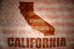 Винтажная карта Калифорнии стоковое изображение rf