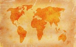 Винтажная карта мира Стоковые Изображения