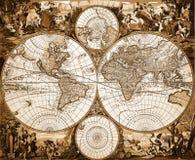 Винтажная карта мира Стоковое фото RF