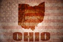 Винтажная карта Огайо Стоковые Изображения