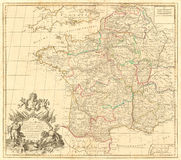 Винтажная карта Франции Стоковые Фотографии RF