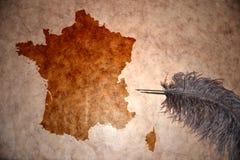 Винтажная карта Франции Стоковые Фото