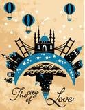 Винтажная карточка города в векторе Стоковые Изображения