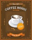 Винтажная карточка кофейни Стоковые Изображения RF