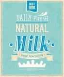Винтажная карточка молока. Стоковые Изображения