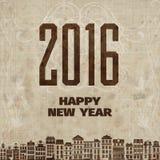 Винтажная карточка Новогодней ночи Ретро винтажная иллюстрация поздравительной открытки Нового Года стиля Стоковое Фото