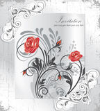 Винтажная карточка приглашения с флористической предпосылкой и место для текста Стоковое Изображение RF
