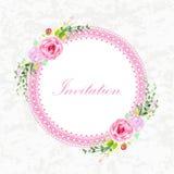 Винтажная карточка приглашения с цветками Стоковое Фото