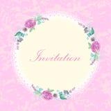 Винтажная карточка приглашения с цветками Стоковое Изображение