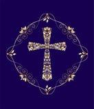 Винтажная карточка с крестом золота флористическим Стоковые Изображения