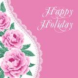 Винтажная карточка цветка с пионами Стоковые Фотографии RF