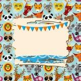 Винтажная карточка шаблона утиля с рамкой фото и предпосылкой животных Стоковые Изображения