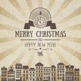 Винтажная квадратная monochrome коричнев-белая ретро рождественская открытка Стоковые Изображения RF