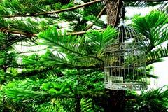 Винтажная клетка птицы металла стиля стоковая фотография rf