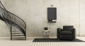 Винтажная комната с лестницей Стоковая Фотография RF