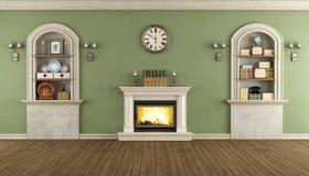 Винтажная комната с нишей и камином Стоковая Фотография RF