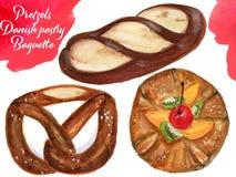 Винтажная концепция акварели для комплекта вектора хлебопекарни или кафа ба иллюстрация штока