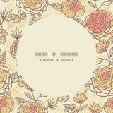 Винтажная коричневая розовая рамка круга цветков безшовная Стоковые Фотографии RF