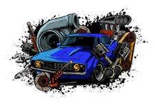 Винтажная коробка передач спидометра фар автошины руля поршеня двигателя мотора автомобиля witn собрания компонентов автомобиля бесплатная иллюстрация