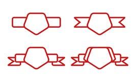 Винтажная красная форма пентагона с лентой на белой предпосылке Стоковое Изображение RF