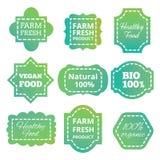 Винтажная красочная естественная органическая био бирка, ярлыки, эмблемы и значки зеленого цвета вектора продукта иллюстрация штока