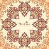 Винтажная круглая безшовная картина в индийском mehndi Стоковая Фотография