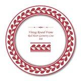 Винтажная круглая ретро линия геометрии сердца красного цвета рамки 040 Стоковые Изображения