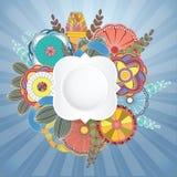 Винтажная круглая флористическая рамка с листьями для дизайна приветствию, Ve Стоковое Фото