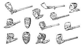 Винтажная куря труба Античный доисторический табак для элегантного джентльмена Головы и стороны различных людей бесплатная иллюстрация