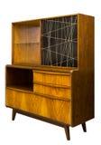 Винтажная мебель грецкого ореха в стиле шестидесятых годов, изолированных на белизне Стоковые Фотографии RF