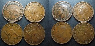 Винтажная монетка Пенни австралийца одного Стоковое Изображение RF