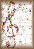 Винтажная музыка замечает предпосылку стоковое изображение
