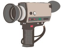 Винтажная нарисованная рука, вектор камеры фильма, Eps, логотип, значок, иллюстрация силуэта crafteroks для различных польз Посет иллюстрация вектора