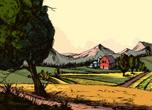 Винтажная органическая ферма, ландшафт сельской местности с сеном, поле и деревня Стоковое Изображение
